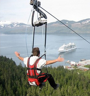 Adventure! Icy Strait zipline in Hoonah, Southeast Alaska